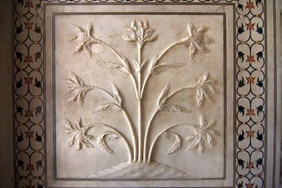 Beautiful Plant Motifs Carved Into Marble Inside Taj Mahal