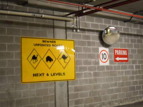 Another warning sign in parking structure   Sydney